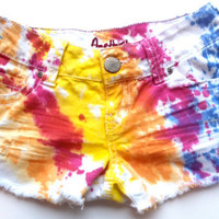 Vintage Tie Dye Colorful Low Rise Distressed Cut Off Denim Jean Shorts
