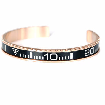 Multi-Color Stainless Steel Tungsten Speedometer Bangle Bracelet
