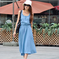 Grey Blue Big Sweep Long Vest Dress NC013 by Sophiaclothing