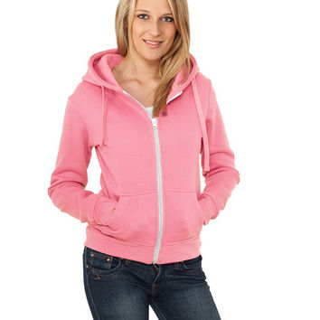 Hooded Long Sleeve Front Zippered Sweater