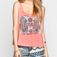 Full Tilt Double Hamsa Womens Swing Tank Coral  In Sizes