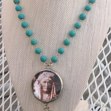 Turquoise Indian Chief Soldered Reversible Pendant Necklace Western Cowgirl Assemblage Jewelry