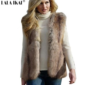 Women Faux Fur Vest Winter Long Fur Gilet Sleeveless Fur Outerwear Plus Size Fur Coat XXXL CAP0577 -5