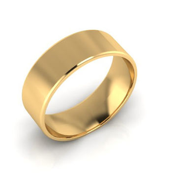 Wedding Band, Solid Gold Wedding Band, 7.00mm 14K Yellow Gold Wedding Band, Hand Made Wedding Band, Free Engraving Promise Ring, 7.00mm