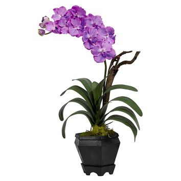 Silk Flowers -Purple Vanda With Black Hexagon Vase Artificial Plant