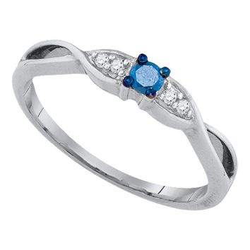 10kt White Gold Womens Round Blue Color Enhanced Diamond Solitaire Promise Bridal Ring 1/8 Cttw