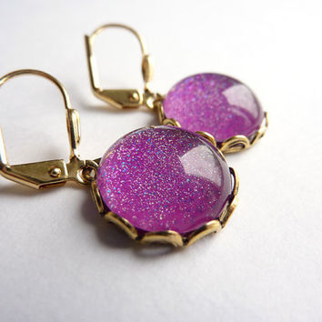 Pink Purple Glitter Earrings, Gold Plated Earrings ***SOLD***