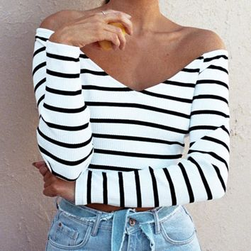 Women Sexy V neck Off Shoulder Crop Strapless Long Sleeve Striped Autumn Long sleeve Shirt Chemise Femme European style yf2