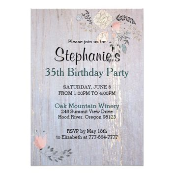 Flowers & Diamonds Birthday Party Invitation Card