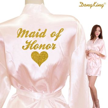 DongKing MAID OF HONOR Robes Maid of Honor Heart Golden Glitter Print Faux Silk Kimono Robes Wedding Gift Team Bride 21 Colors