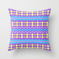 Artistic stripes in blue yellow on purple Throw Pillow by cycreation