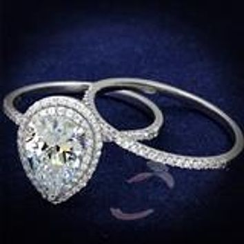 PRE-ORDER A Perfect 2.5CT Pear Cut Double Halo Russian Lab Diamond Bridal Set Wedding Band Ring