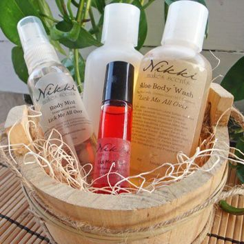 LICK Me All OVER  Scents in a Barrel Gift Set by nikkicandles
