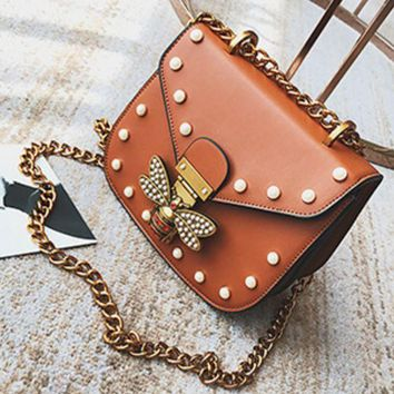 ESBONV Women Brand Bee PU Leather Shoulder Bag Small Crossbody Bag with Chain For Girls Ladies Bag Bolso Mujer