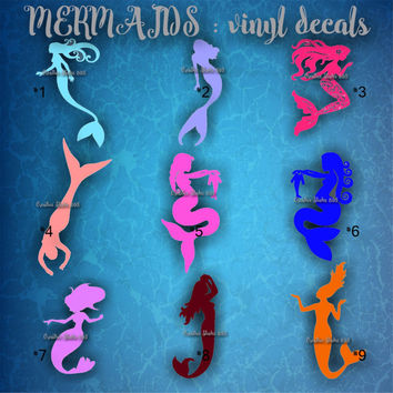 MERMAID vinyl decals - water bottle decal - car decal - mermaids - decal - stickers - sea life - underwater - 1-9