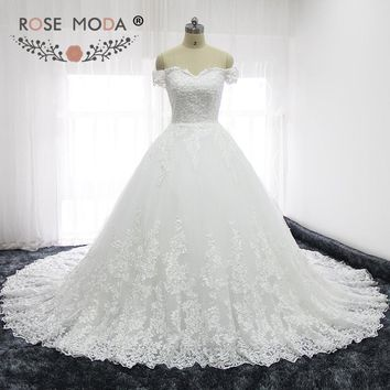 Rose Moda Luxury Off Shoulder French Lace Wedding Dresses Semi Cathedral Train Princess Wedding Ball Gown Corset Back