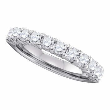 14kt White Gold Womens Round Pave-set Diamond Wedding Band 1.00 Cttw
