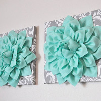 TWO Mint Green Dahlia on Gray and White Damask Canvases Wall Art