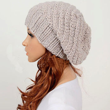 Slouchy woman handmade knitted hat clothing cap beige