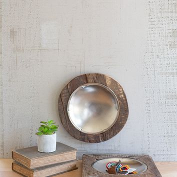 Set of 2 Recycled Wood Framed Metal Bowls