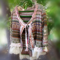 Romantic Gypsy Sweater Bolero Eco Fashion Rustic Bohemian Jacket Mori girl Plus Size Large, 2x, 3x, 4x