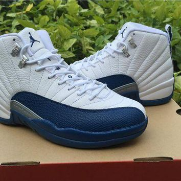 "ONETOW Air Jordan 12 ""French Blue""while/blue Basketball Shoes   41---47"