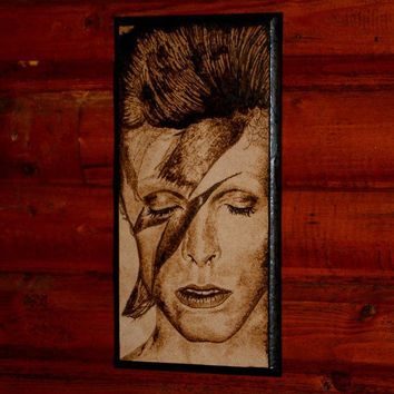 David Bowie woodburned home decoration