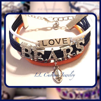3 strand - Love the Chicago BEARS! Love Charm, BEARS Rhinestone letters & Football Charm - Customize Name, color and charm