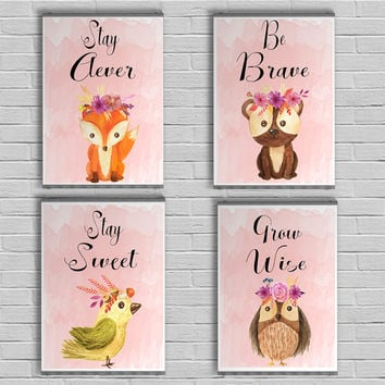 Girl Woodland Nursery Print set, Nursery wall decor, Girl nursery wall art, Baby animal prints, Printable Woodland Nursery Art