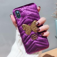 GUCCI Fashion Butterfly iPhone Phone Cover Case For iphone X 6 6s 6plus 6s-plus 7 7plus 8 8plus