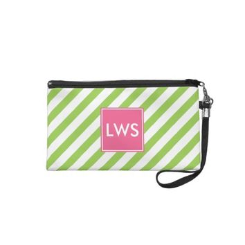 Green and Pink Nautical Stripes Monogram Wristlet Purse from Zazzle.com