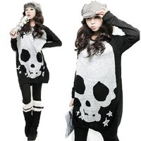 New Korean Womens Long Sleeve Scoop Neck T-shirt Skull Print Loose Tunic Sweater One size,Black