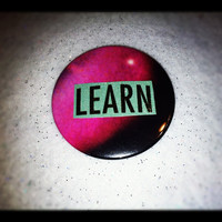 "Unique ""Learn"" Galaxy Background 2.25"" Pinback Button OOAK Hipster Nebula Pin"