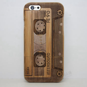 Solid wood Tapel Wood Case Retro Wooden New Cover Carving flower Patterns Wood Slice Plastic Edges Back Cover for Iphone 6 case iPhone 6 Plus