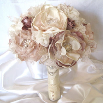 Wedding Bouquet Vintage Inspired Fabric Flower Brooch Bouquet in Ivory, Champagne and Dusty Rose with Pearls, Rhinestones and Lace