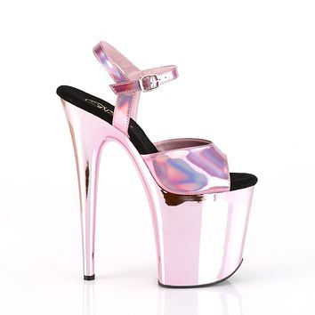 "Flamingo 809HG Pink Hologram Mirrored Platform 8"" High Heel Ankle Strap Shoe"