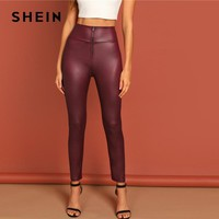Burgundy Exposed Zippered Front High Waist Slim Fit Faux Leather Pants