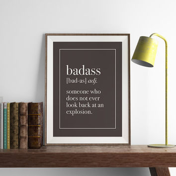 Badass Definition Print | Funny Wall Art | Art Printable | Printable Wall Art | PDF Download | Funny Art