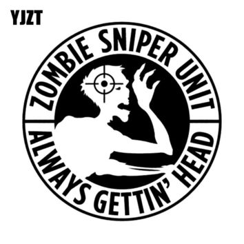 YJZT 10*10CM Personalized ZOMBIE Sniper Response Team Unit Motorcycle Car Sticker Decal Black/Silver Vinyl S8-1233