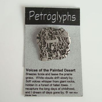 Seely Alice Southwestern Pewter Petroglyph Brooch 1997 On Original Card