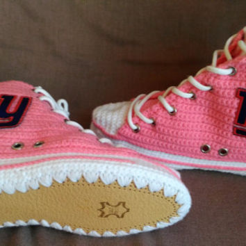 New York Giants Converse, New York Giants Pink Shoes, New York Giants, Women's And Men New York Giants Knitted Slippers, Converse Slippers