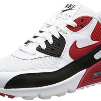 Nike Air Max 90 Essential Men Lifestyle Casual Sneakers New White Red Black  white nike air