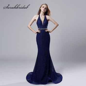 New Mermaid Long Evening Dresses Halter Tulle Sleeveless Backless V-Neck Prom Party Gowns Floor Length Court Train Crystal CC532