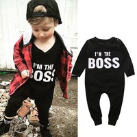 Newborn Baby Boys Girls Clothes Long Sleeve Cotton Boss Bodysuit Infant Bebes Todder Kids Clothes Playsuit