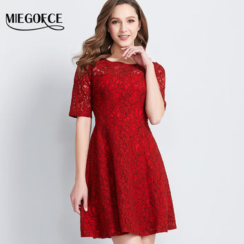MIEGOFCE New Collection Women's Lace Dresses Elegant Round Collars Half Sleeve Office Casual Bodycon Dresses High Quality Hot