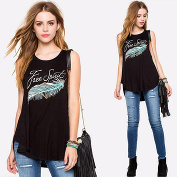Summer Comfortable Loose Feather Print T-shirts Sleeveless Blouses for Women 03