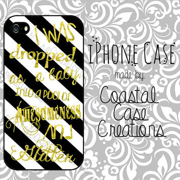 Black and White Striped with Gold Glitter Quote Apple iPhone 4 and 5 Hard Plastic or Rubber Phone Case Cover Original Design