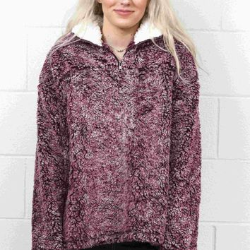 Day-First™ Cozy Up 2-Tone Sherpa Zipper Pullover {Burgundy}