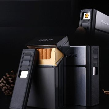 Personal Cigarette Holder Box with Removable Electronic Windproof Lighter