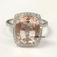 Cushion Morganite Engagement Ring SI Diamond  0.35ct 14K White Gold 10x12mm